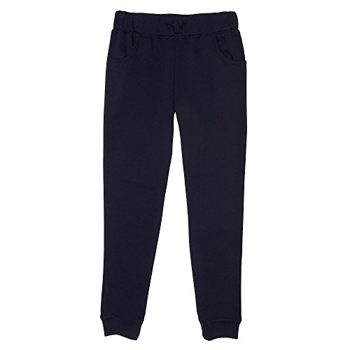 French Toast Big Girls' Fleece Jogger, Navy, M (7/8) - School Kids Sweatpants