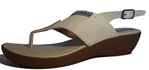 Chanclas para mujer, flip flop, sandalias para mujer, beige, marrón, blanco, azul, rojo, negro-oro, rosa-rojo y color del leopardo, modello 11064105006001, diferentes modelos y tamaños. Weiß.