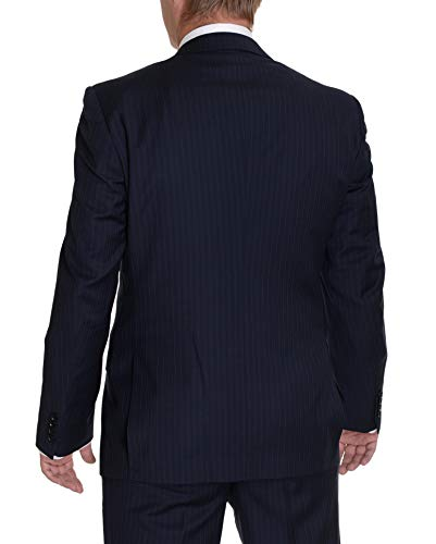 Label E Modern Fit Navy Blue Pinstriped Two Button Wool Suit ()