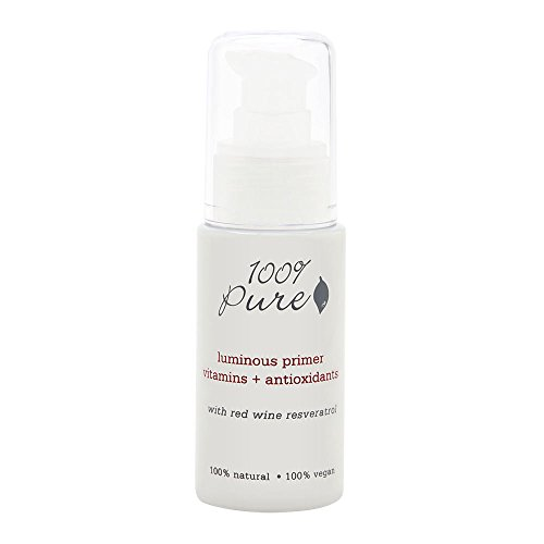 100% Pure: Luminous Primer Vitamins + Antioxidants with Resveratrol, 1 oz, Light Relflective Pigments Diffuse Lines and Wrinkles, Make Your Skin Instantly Appear More Luminous, Healthy and Glowing