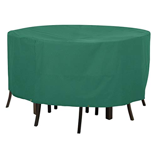 Classic Accessories Atrium Round Patio Table and Chair Cover - Weather/Water Resistant Patio Set Cover with UV Protection, Large, Green (55-433-041101-11) (Furniture Simple Patio Ideas)