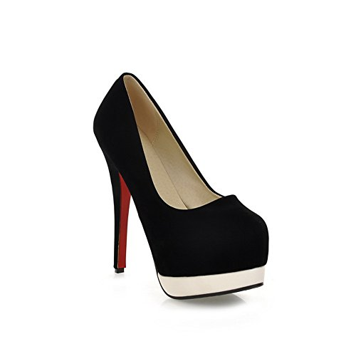 Heel Womens Cut Frosted Low BalaMasa Shoes Wheeled Platform Shoes Black Pumps Uppers qtgndZw