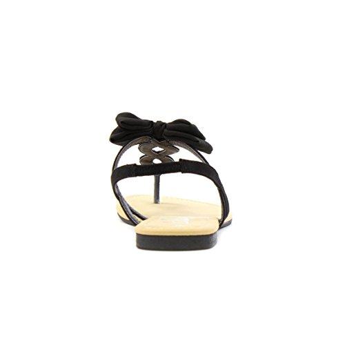 Lilley Womens Black Bow Flat Toe Post Sandal Black T5RwvZ0lz