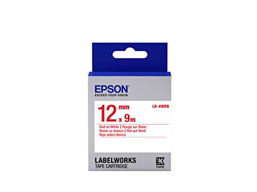 "Epson LabelWorks Standard LK (Replaces LC) Tape Cartridge ~1/2"" Red on White (LK-4WRN) - For use with LabelWorks LW-300, LW-400, LW-600P and LW-700 label printers"