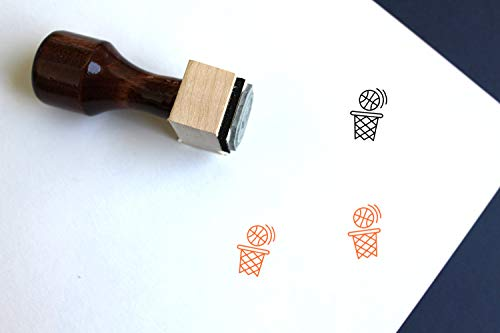 "Basketball Wooden Rubber Stamp (1"" x 1"")"