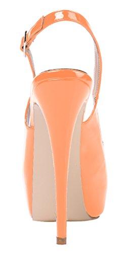 With Patent Pumps Heels Party High Slingback Orange Hidden Womens Platform AOOAR W1q47RY7