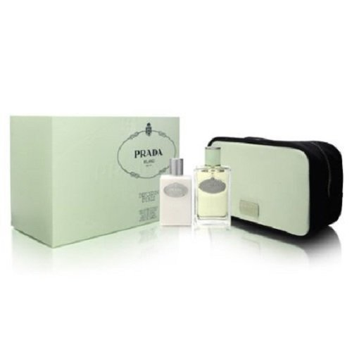 Prada Milano Infusion D'Iris 3pcs Gift Set Women (3.4 oz EDT Spray + 3.4 oz Hydrating Body Lotion + Green Pouch) by - Hydrating Lotion Prada Infusion Diris Body