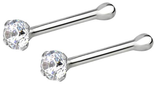 Forbidden Body Jewelry 22g Sterling Silver CZ Simulated Diamond Micro Nose Stud, 1.5mm Crystal, Clr Pair (Gold Pin 14k Stick)