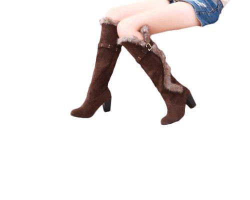 Charme Voet Mode Nepbont Damesschoenen Met Hoge Hak Kniehoge Sneeuw Bruin