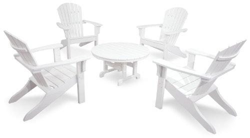 Ivy Terrace IVS106-1-WH Classics 5-Piece Shell Back Adirondack Conversation Set, ()