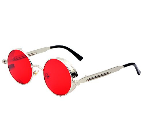 YANQIUYU Gothic John Lennon Steampunk Sunglasses for Men Women Metal Frame Small Round Lens (Silver Frame/Red Mirrored Lens, - Men Sunglasses Celebrity