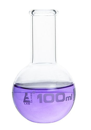Boiling Flask, 100ml - Borosilicate Glass - Flat Bottom, Narrow Neck - Eisco Labs (Uses Of Pear Shaped Flask In Laboratory)