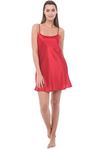 del-rossa-womens-satin-nightgown-long-camisole-chemise-large-apple-a0766apllg