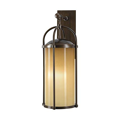 Murray Feiss Lighting OL7602HTBZ Dakota - One Light Outdoor Wall Bracket, Heritage Bronze Finish with Aged Oak Glass