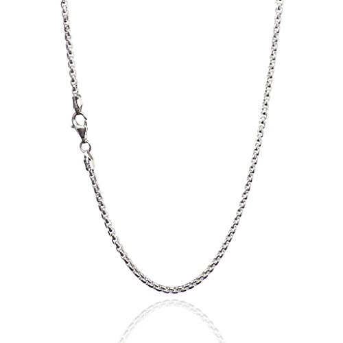 (925 Sterling Silver 2.75 mm Round Box Chain Necklace with Pear Shape Clasp-Rhodium Finish)