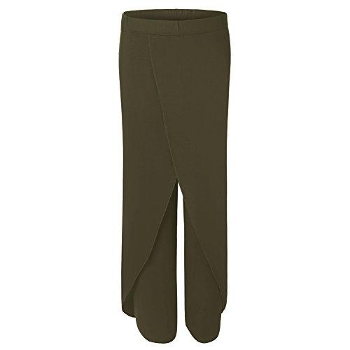 Vita Scuro Alta Verde Morbido Larghe Pantaloni Donna Laamei Estate Chiffon Casuale Lungo Larghi Gambe OzqtvB