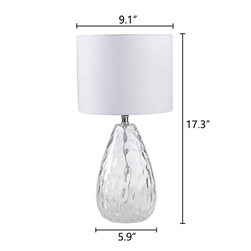 Wtape Modern Clear Glass Base Bedside Table Lamp White for Bedroom, Living Room, Kids Room, College Dorm, Coffee Table, Bookcase by Wtape (Image #1)