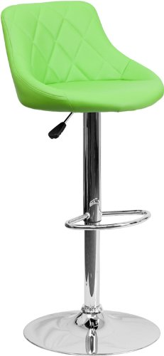 Contemporary Green Vinyl Bucket Seat Adjustable Height Barstool with Chrome Base by Belnick
