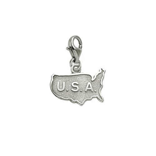 Sterling Silver Usa Map Charm With Lobster Claw Clasp, Charms for Bracelets and (Map Usa Sterling Silver Charm)