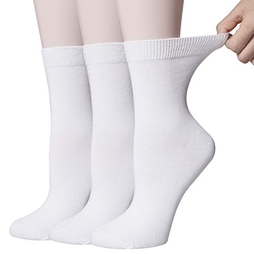 - 3 Pack Womens Thin Cotton High Ankle Casual Crew Socks, Soft and Comfortable Dress Socks