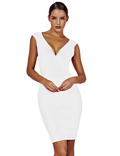 UONBOX Women's Rayon Sexy V-Neck Bandage Bodycon Gold Foil Print Club Party Dress (XS, White)