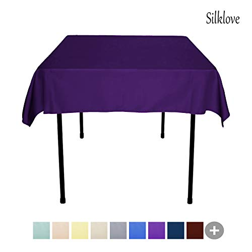 (SilkLove Tablecloth - 54 x 54 Inch -Purple-Square Polyester Table Cloth, Wrinkle,Stain Resistant - Great for Buffet Table, Parties, Holiday Dinner & More)