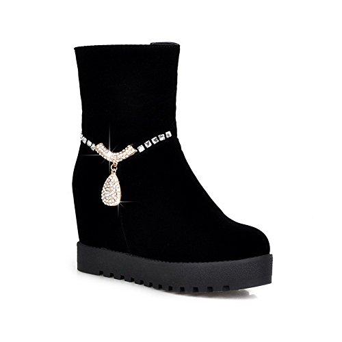 A&N Ladies Glass Diamond Platform Heighten Inside Frosted Boots Black RHLkrEhloI