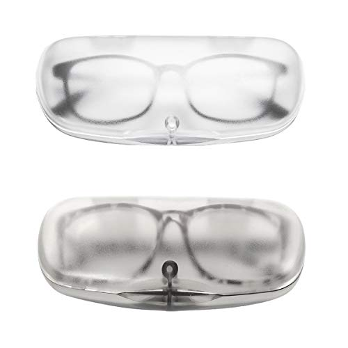 EZESO Magnet Buckle Frosted Translucent Nearsighted Eyeglasses Case (Transparent Black + Transparent White) Medium