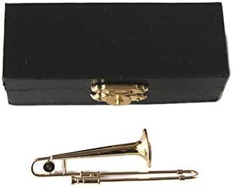Trombone Miniatura 1/12ª Escala Instrumento Musical en Estuche De Vinilo Negro Con Cierre De Metal: Amazon.es: Hogar