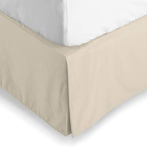 (Bare Home Bed Skirt Double Brushed Premium Microfiber, 15-Inch Tailored Drop Pleated Dust Ruffle, 1800 Ultra-Soft Collection, Shrink and Fade Resistant (Queen, Sand))