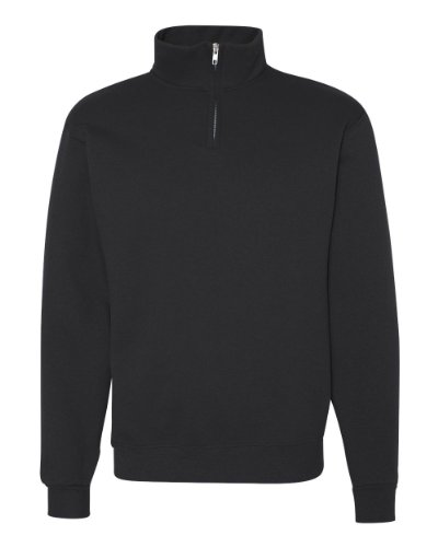 Jerzees Cotton Pullover - Jerzees Adult NuBlend Quarter-Zip Cadet-Collar Sweatshirt (Black) (X-Large)