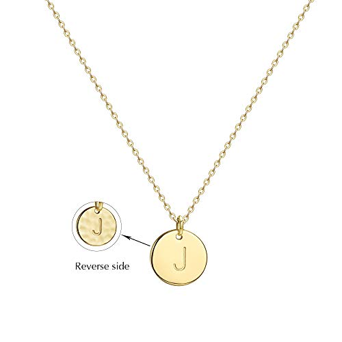 Befettly Initial Necklace Pendant 14K Gold-Plated Round Disc Double Side Engraved Hammered Choker Necklace 16.5'' Adjustable Personalized Alphabet Letter Pendant - Heart Tweezers