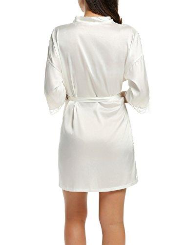 da Camicia V bianco 4 Pigiama Nightdress Raso S a Pizzo 3 a Kimono da in e Manica Scollo Donna XXL Vestaglia Notte B Notte Vestaglia BeautyUU xq46HzU