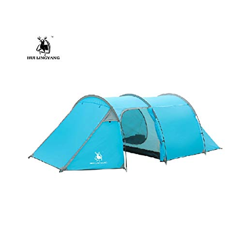 (JinJin Camping tent, 3-4 Person Tent for Camping, 4 Season Lightweight Waterproof Instant Family Backpacking Camping Tents (Blue))