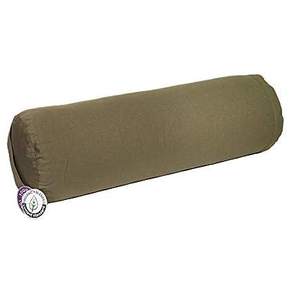 Bolster Yoga verde oliva 60 x 20 cm redondo certificados OCS ...