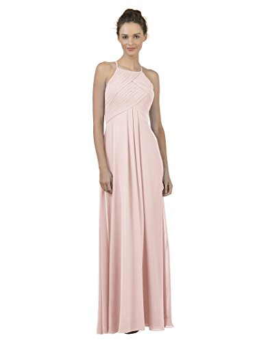 (Alicepub Long Chiffon Bridesmaid Dress Maxi Evening Gown A Line Plus Party Dress, Pearl Pink, US4)