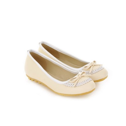 Beige B Solid US 4 whith M Bowknot Toe Women's WeenFashion Material Flats 5 Round PU Closed Soft BPa0w76q