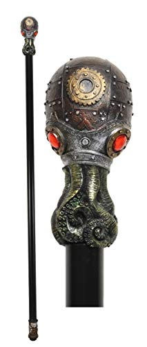 """Ebros Steampunk Robotic Kraken Cthulhu Octopus Swagger Stick Cane Staff 38"""" Long Decorative Costume Prop Victorian Industrial Sci Fi Decor Collectible Figurine NOT for Medical Walking Assistance"""