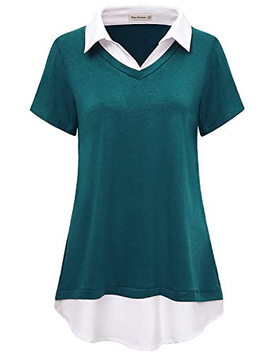 Miss Fortune Aline Tops for Women, Ladys Lapel Neck Tunics Short Sleeve Chic Shirts Knit Summer Tunic Slimming Business Casual Blouses Flowing Layered Tops Cyan M