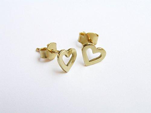 14k Gold Open Heart Stud Earrings Solid Gold Jewelry