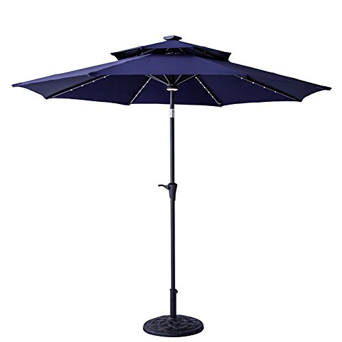 Blue Led Umbrella: FLAME&SHADE 9' LED Light DoubleTop Outdoor Patio Market
