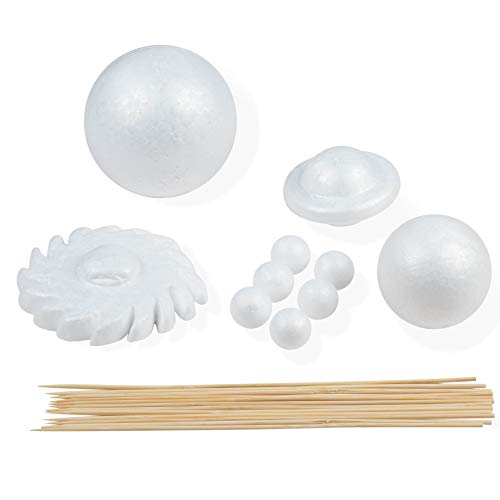 Foam Ball Solar System Kit - 10-Piece Polystyrene Foam Shapes and 12-Piece Bamboo Sticks