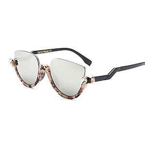 Jeweled Sunglasses Semi Cat Eye Glasses for Women Plastic Half Rim Frame (Tortoise Black/Silver, 55)