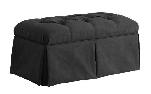 Skyline Furniture Velvet Skirted Storage Bench, Black by Skyline Furniture