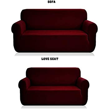 Amazon.com: 2 pcs Stretch Slipcovers Set, Couch/ Sofa And ...