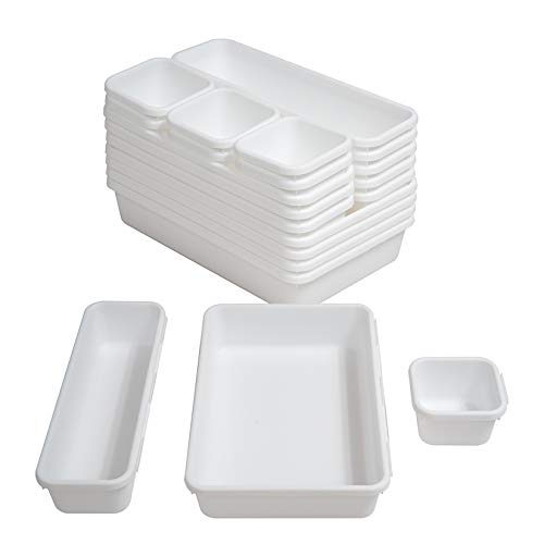 BYCY 18 Pcs White Drawer Organizers Trays Set Drawer Dividers for Kitchen Office Bathroom, Interlocking Bin Pack ( 18…
