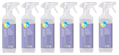- Sonett Organic Multi-Surface and Glass Cleaner 16.9 fl oz/ 0.5 Liter (Pack of 6) - Thoroughly Cleans panes, Mirrors, counters and Stainless Steel Furniture Without Leaving Any Streaks.