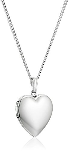 (Sterling Silver Polished Heart Locket Pendant Necklace, 18