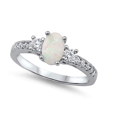 - CloseoutWarehouse Oval Center White Simulated Opal Ring Sterling Silver Size 7