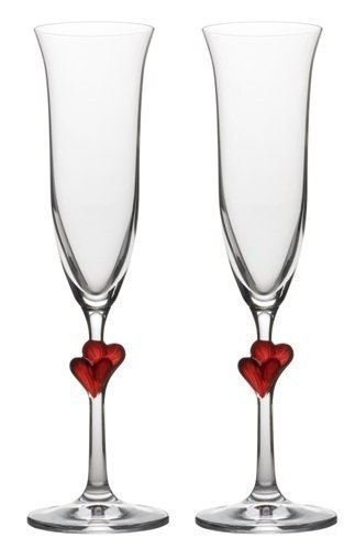 Amour Flutes - Valentines Champagne Flutes - set of 2 - L'Amour, Red heart, Engraved